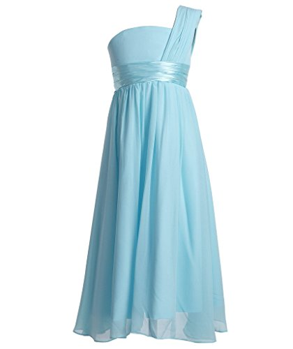 FAIRY COUPLE Big Girl's A-Line Chiffon One Shoulder Flower Girl Dress For Wedding K0078 14 Light Sky Blue by FAIRY COUPLE