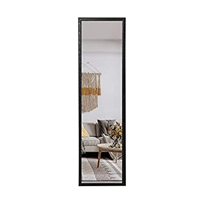 Huimei2Y Full Length Mirror for Bedroom, Living Room and Entrance, Black - Size: 50x14 inch, large enough for you to enjoy your full figure in a single glance, amplifies natural lighting in entryways, bathrooms, living rooms, cloakroom High-quality: Wall mirror is made from float glass, distortion-free and high-definition; equipped with an explosion-proof membrane to provide you with protection Classic Edge: Black door mirror with engraving frame, increasing the aesthetic feeling of the mirror, wonderfully well-suited for modern Home Decoration. Nice Christmas and Thanksgiving gift - mirrors-bedroom-decor, bedroom-decor, bedroom - 31FiM8PwaiL. SS400  -