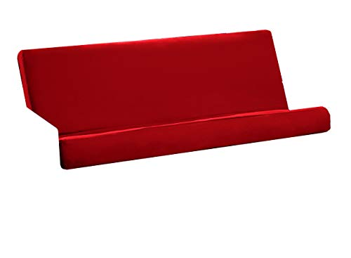 Futon Cover with 3 Sided Zipper - Factory Direct - Full or Queen - Solid Colors - Premium Cotton/Polyester Blend - Futon Mattress Cover (Red, Queen (Fits 8