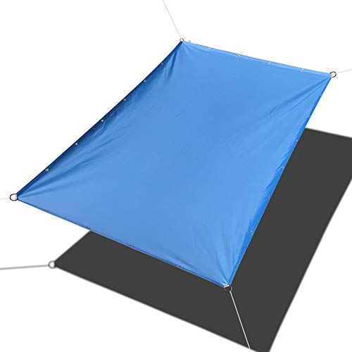 Alion Home Custom Sizes Straight Edge PU Waterproof Woven Sun Shade Sail for Car Tent, Carport, Canopy, Patio, Awning, Window, Pergola, Gazebo and RV Other Sizes, Sky Blue