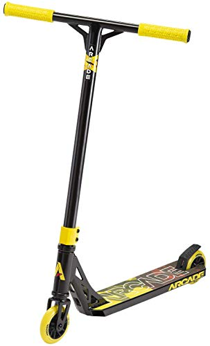 ARCADE Pro Scooters - Stunt Scooter for Kids 8 Years and Up - Perfect for Beginners Boys and Girls - Best Trick Scooter for BMX Freestyle Tricks (Black/Yellow)