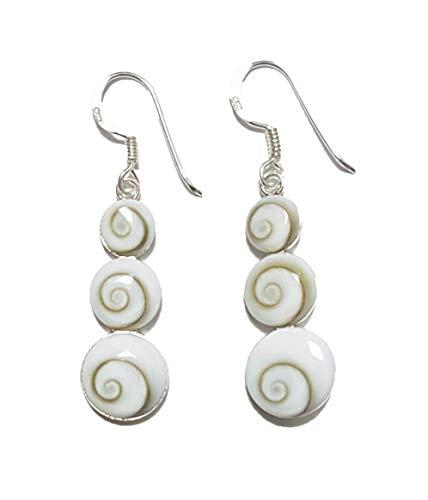 Moks 925 Sterling Silver Dangle Earrings Handmade Triple Circle Swirl Vortex Seashell Exquisite for Women Girls (Earrings Triple Swirl)