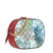 GUCCI Blooms GG Supreme mini chain bag Blossoms Blue Handbag Box New