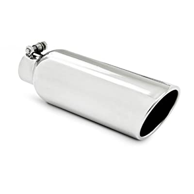 "MBRP T5149 4"" O.D. 2.25"" Inlet 12"" Length T304 Stainless Steel Angled Cut Rolled End Clampless Exhaust Tip"