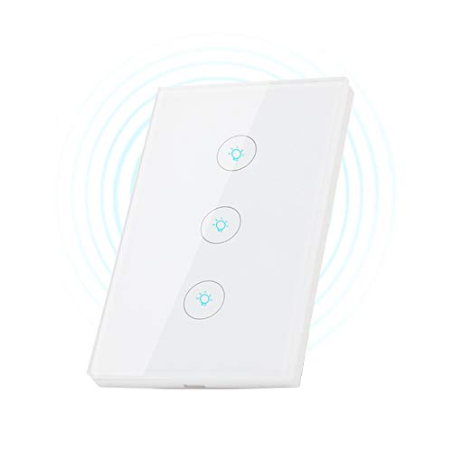 Smart Switch,HiOrange Wi-Fi Touch Light Switch Compatible with Amazon Alexa and Google Assistant,Easy In-Wall Installation, Remote Control,Timing Function with Android & iOS (3 switches on 1 gang) (Light Home Three)
