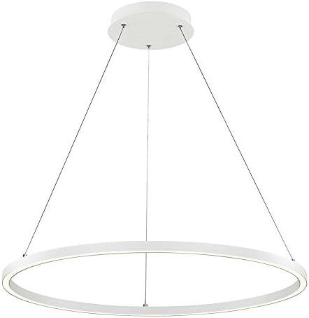 Modern 32-Inch LED Ring Pendant Light White Finish