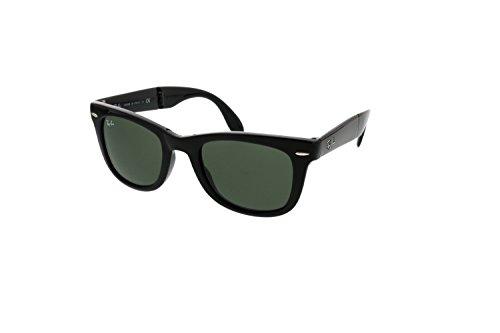 Ray-Ban Folding Wayfarer (Black Crys Green/G-15 XLT) Sunglasses -  adult