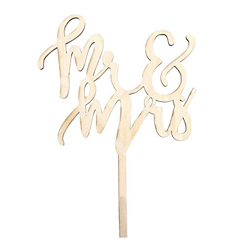 Mr&Mrs Cake Topper - Customizable Wooden Wedding Cake Toppers in a Modern Script Font - Leave It Plain For a Rustic Feel, Paint It, Or Add Sparkles for a Truly Unique Look - Add Charm to Your Wedding ()