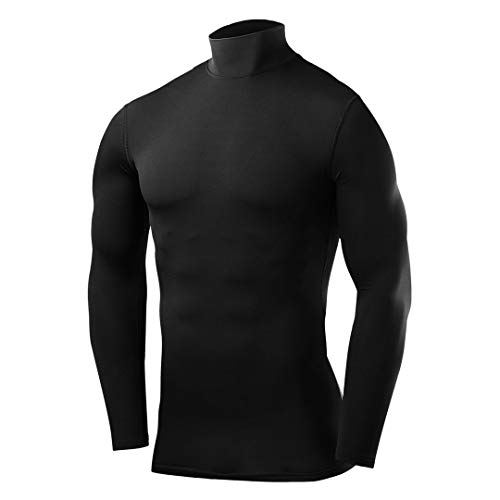 PowerLayer Mens Boys Compression Base Layer Top Long Sleeve Thermal Under Shirt - Mock Neck -Black Large Boy (10-12 Years)