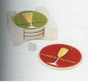 Happy New Year Martini Stone Coasters Set with Caddy