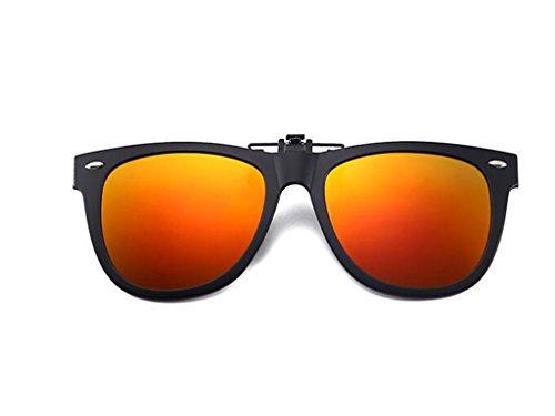 Sol la polarizadas luz Tapa Clip Gafas Sol polarizado Gafas con en Sol Sujeción Clip Tukistore de para de de Tapa de Sol polarizado Gafas Gafas contra Rojo de Hombre para Redondo Clip en Clip con Damas qPYY1w