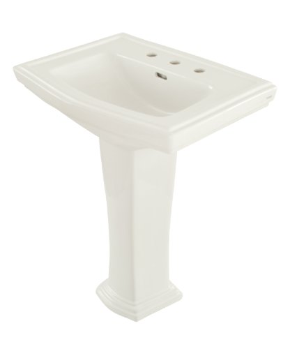 TOTO LPT780.8#01 Clayton Lavatory and Pedestal with 8-Inch Centers, Cotton - Pedestal Inch Lavatory 8