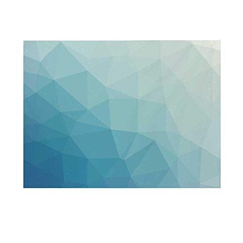 Teal and White Photography Background,Ombre Inspired Pattern with Low Poly Effect Triangles Fractal Mosaic Decorative Backdrop for Studio,5x3ft
