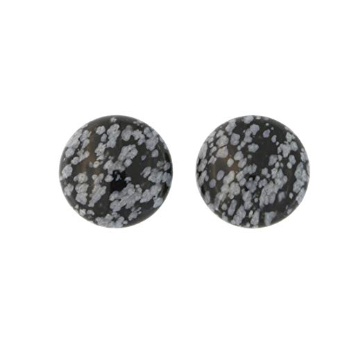 Solid Sterling Silver Rhodium Plated 16mm Snowflake Obsidian Cabochon Button Stud Earrings