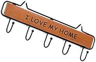 Ruiting Perchero de Llaves de Pared Gancho de Llaves Colgador de Llaves Letras I Love MY Home Multifunción con 5 Gancho Decoración de Hogar(Marrón)