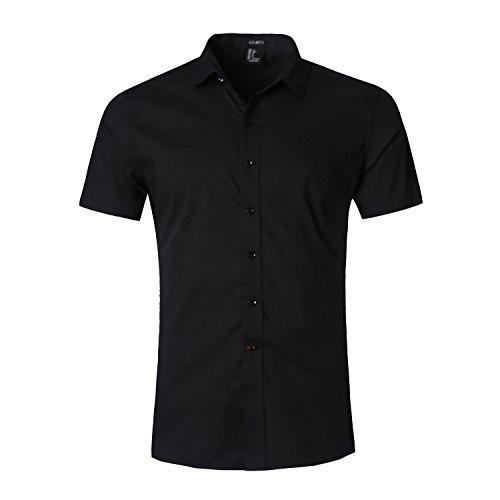 AVANZADA-Mens-Slim-Fit-Solid-Dress-Shirts-Button-Down-Cotton-Short-Sleeve-Shirt