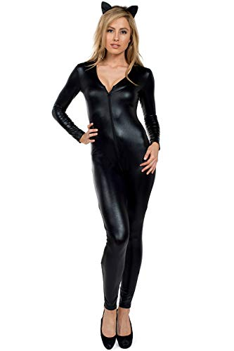 Women's Faux Black Leather Cat Bodysuit - Sexy Women's Catsuit Halloween Costume: Small]()