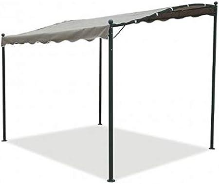 Cenador pérgola de pared de 3 x 2, 5 m fabricado en hierro y metal negro con toldo de color crudo, para jardín, bar, terraza, piscina y exteriores, tratamiento anticorrosión: Amazon.es: Jardín