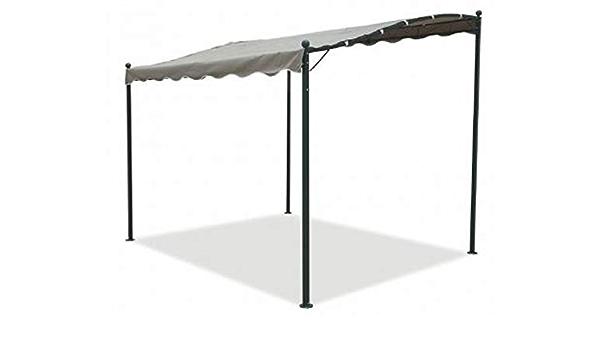 Cenador pérgola de pared de 3 x 2,5 m fabricado en hierro y metal negro con toldo de color crudo, para jardín, bar, terraza, piscina y exteriores, ...