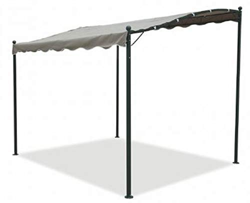 Gazebo Per Terrazzo In Ferro.Gazebo Pergola Da Muro Metri 3x2 5 In Ferro E Metallo Nero Telo