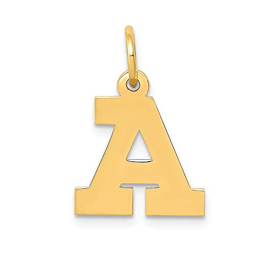 14k Yellow Gold Small Block Initial Monogram Name Letter A Pendant Charm Necklace Fine Jewelry Gifts For Women For Her