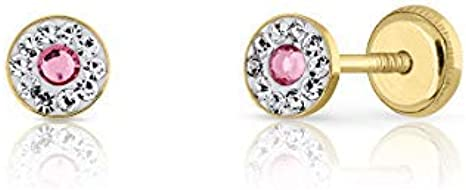 Pendientes oro 18k, bebe niña o mujer, modelo redondo con piedras engastadas y centro en color rosado. Medida de la joya 4.5 mm. Con cierre de máxima seguridad.