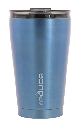 - reduce Hot-1 Vacuum Insulated Thermal Travel Mug for Tea/Coffee, 16oz - Take Your Warm Drink on the Go - Stainless Steel Cup, Spill Proof Lid, Mugs fit in Car Cupholder - Satin Finish, Ice Blue