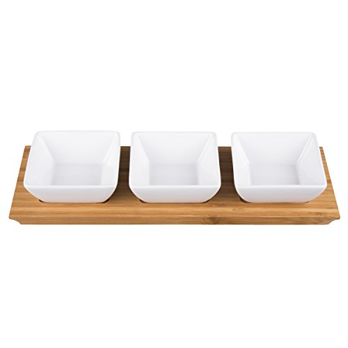 (Creative Home 43002 4 pc Stoneware Square Bowls and Natural Bamboo Rectangular Tray Snack Serving Set, White)