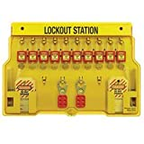 Master Lock Lockout Tagout Station, Covered Group Lockout Station, Includeds 10  Zenex Padlocks, 1482BP411