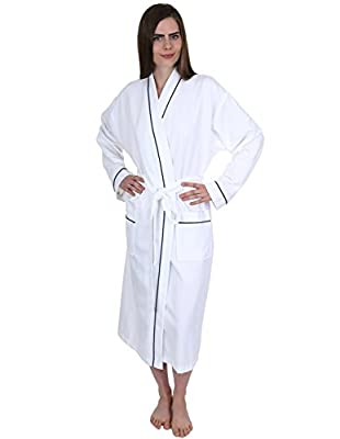 TowelSelections Women's Robe, Kimono Waffle Cotton Bathrobe, Made in Turkey
