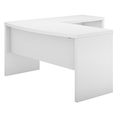 Office by kathy ireland Echo L Shaped Bow Front Desk in Pure White (L-bow Finish Desk)
