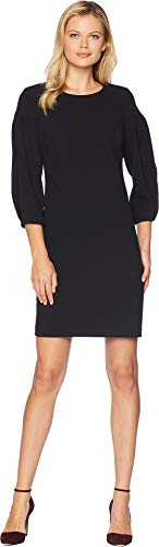 VINCE CAMUTO Womens Bubble Sleeve Crepe Ponte Dress Rich Black MD