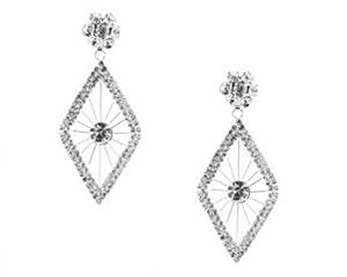 Diamond Shaped Chandelier Earrings with Clear Crystals - FUN Chandelier Jewelry