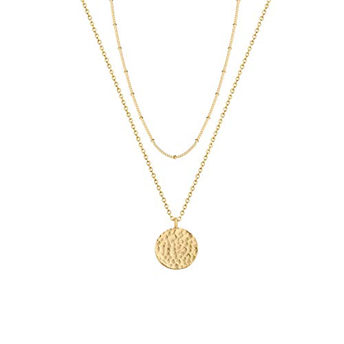 (Layered Moon Necklace,Dainty Moon Phase Necklaces, 14k Gold Plated Necklace, Gold Disc Minimalist Layering Jewelry Pendant Necklace Gift for Her)