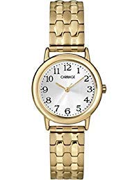 (Timex Carriage Women's Gold-tone Round Case Stainless Steel Expansion Band Watch)