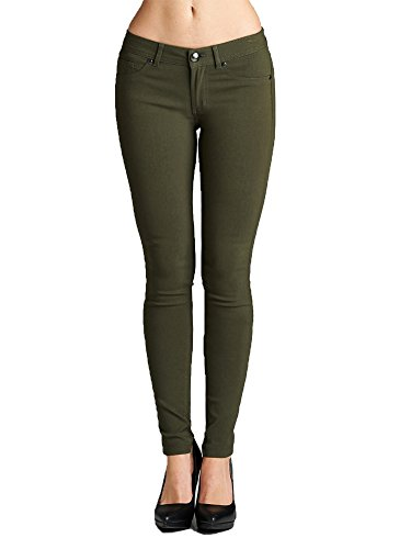 (Emmalise Women's Basic Jean Look Jeggings Tights Spandex Skinny Leggings - Olive, M)
