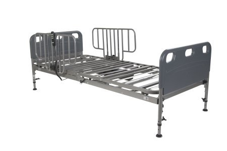 Drive Medical Competitor Semi-Electric Bed, Half Rails, Silver Vein