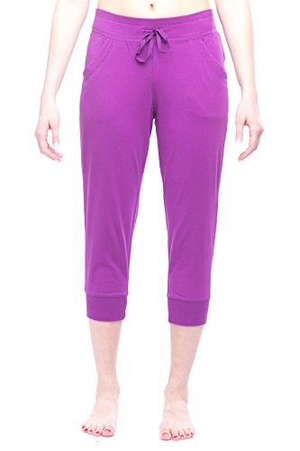 (Danskin Now Women's Cuffed Lounge Capri Purple 2XL)