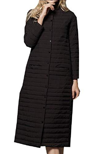 Jackets Coat Long Packable Down Stand Women's Collar EKU Black Lightweight qt1448