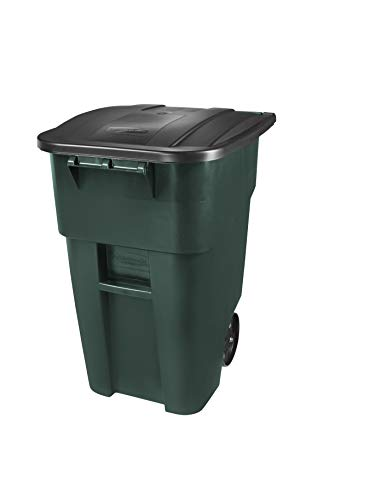 Rubbermaid Commercial Products 1829411 Brute Rollout Heavy-Duty Wheeled Trash/Garbage Can, 50-Gallon, Dark Green (Pack of 2)