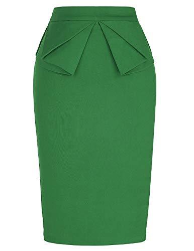 PrettyWorld Vintage Dress Women Casual Pencil Skirt Office Work Wear Knee Length Green (L) KL-9 CL454
