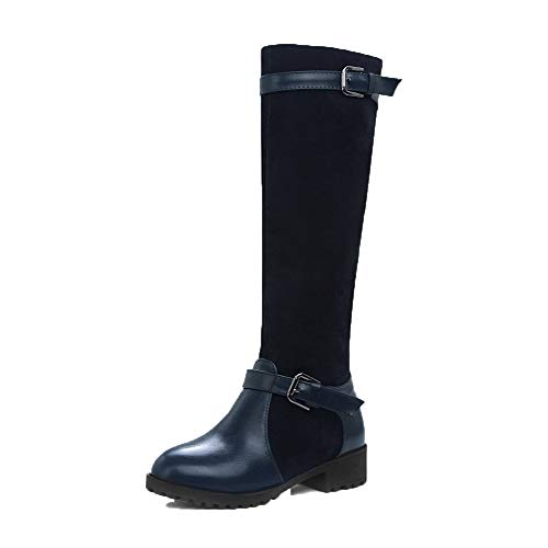 Low Royalblue Pull Pu High Boots Heels On Knee Women's AgooLar Solid GMDXB123948 Px4qwfO5fn
