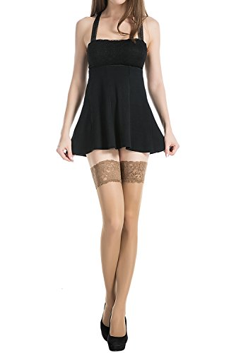 Stocking-Fox-Womens-20-Denier-Lace-Top-Stay-Up-Thigh-High-Sheer-Stocking