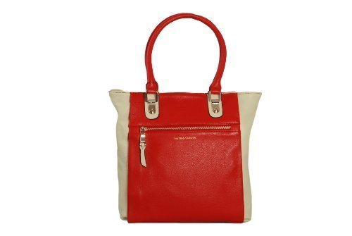 Cream and Red Medium Leather Tote Style Handbag Twin Handles by Smith & Canova