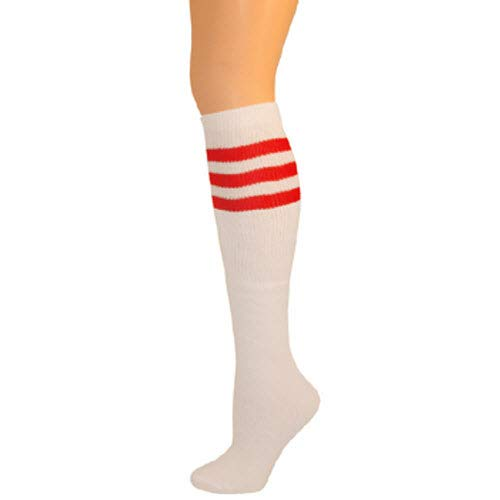 (AJs Classic Triple Stripes Retro Knee High Tube Socks - White, Red, Sock size 11-13, Shoe Size 5 and up )