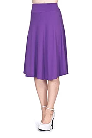 Dani's Choice Stretch High Waist A-Line Flared Long Skirt (S, Purple)
