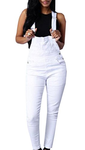 WSPLYSPJY Women's Casual Bib Solid Overalls Long Jumpsuits White M