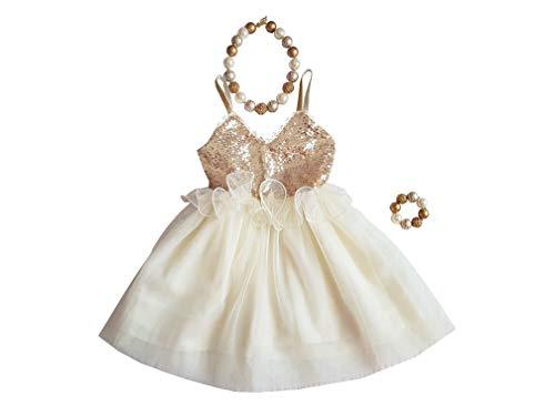 Gold Sequin Tutu Dress for Cake Smash Wedding Birthday Party Flower Girl Toddler 3 Year Old 36M (Ivory)