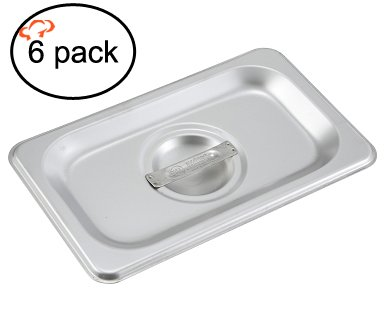 Tiger Chef 1/9 Size Stainless Steel Steam Table Pan Cover, Non-Stick Surface, Pan Lid for 1/9 Size Steam Pans with Handle (6, 1/9 Size) (Steam Table Pan Lids compare prices)