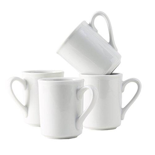 Tuxton Home Alaska Porcelain White Brea Mug 8.5 oz - Set of 4; Heavy Duty; Chip Resistant; Lead and Cadmium Free; Freezer to Oven Safe up to - Free Brea